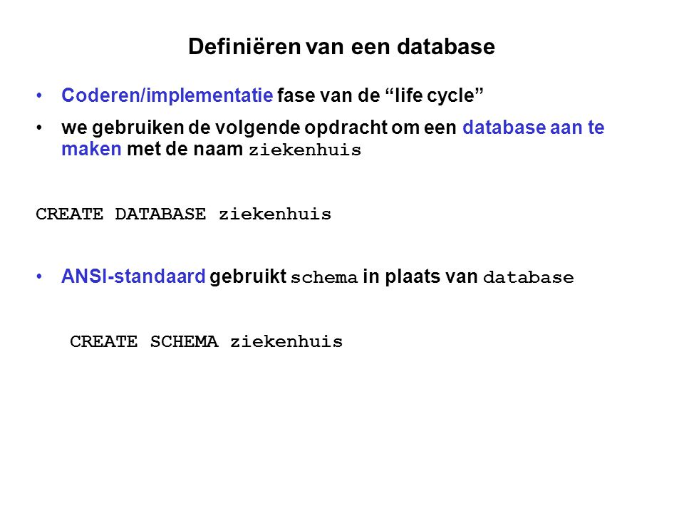Definiëren van een database
