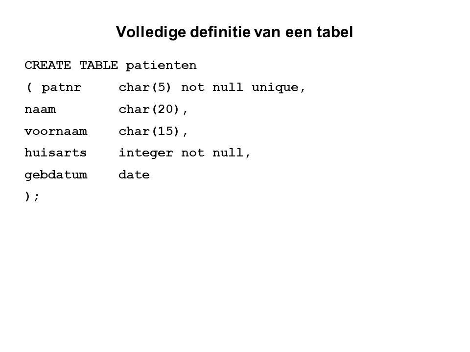 Volledige definitie van een tabel