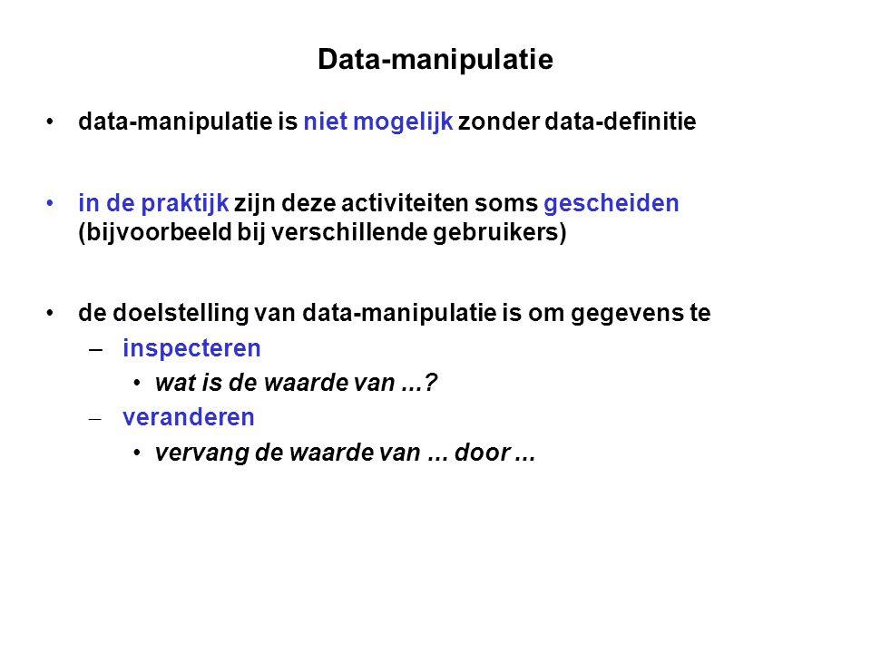 Data-manipulatie data-manipulatie is niet mogelijk zonder data-definitie.