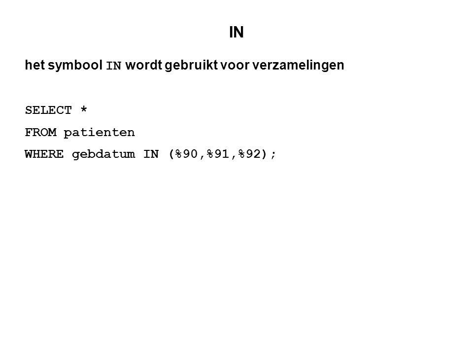 IN het symbool IN wordt gebruikt voor verzamelingen SELECT *