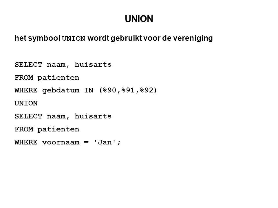 UNION het symbool UNION wordt gebruikt voor de vereniging