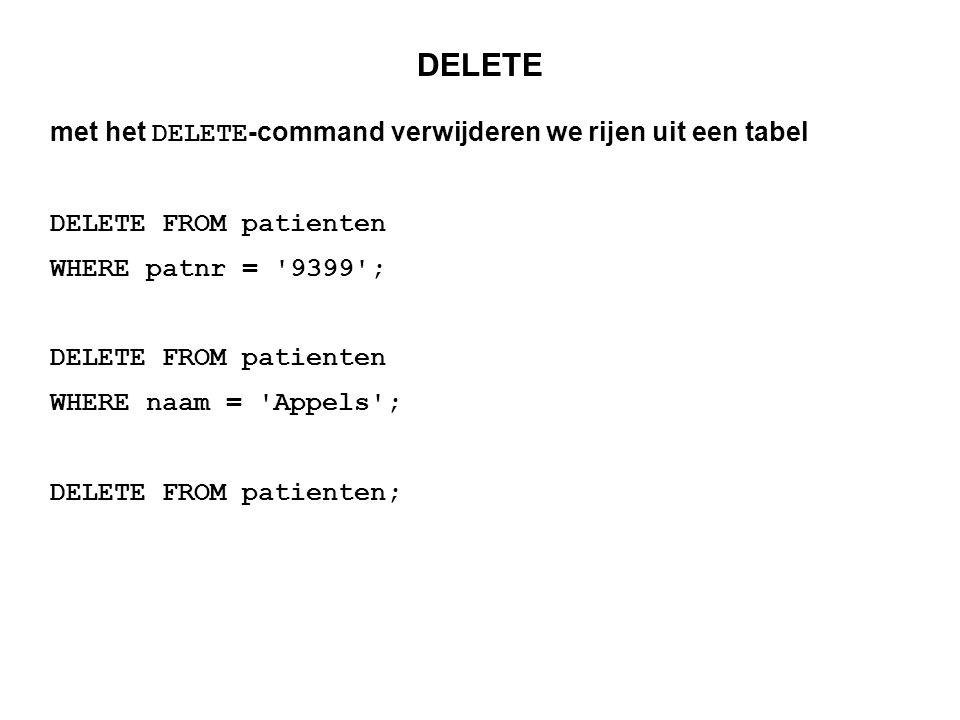 DELETE met het DELETE-command verwijderen we rijen uit een tabel