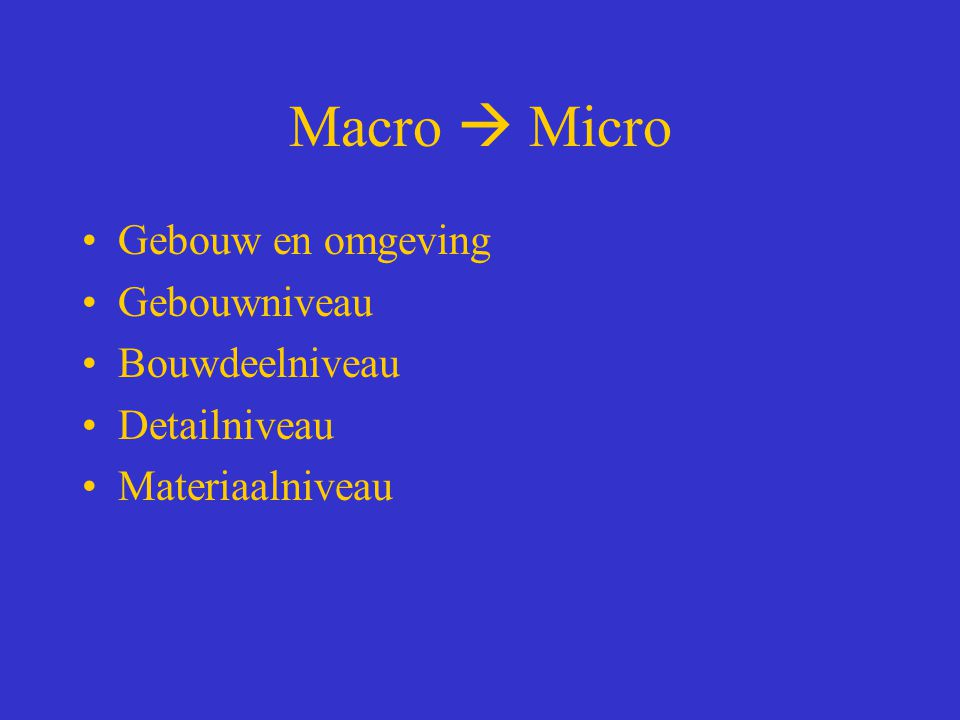 Macro  Micro Gebouw en omgeving Gebouwniveau Bouwdeelniveau