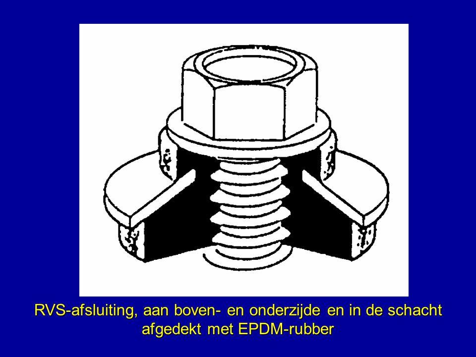 RVS-afsluiting, aan boven- en onderzijde en in de schacht afgedekt met EPDM-rubber