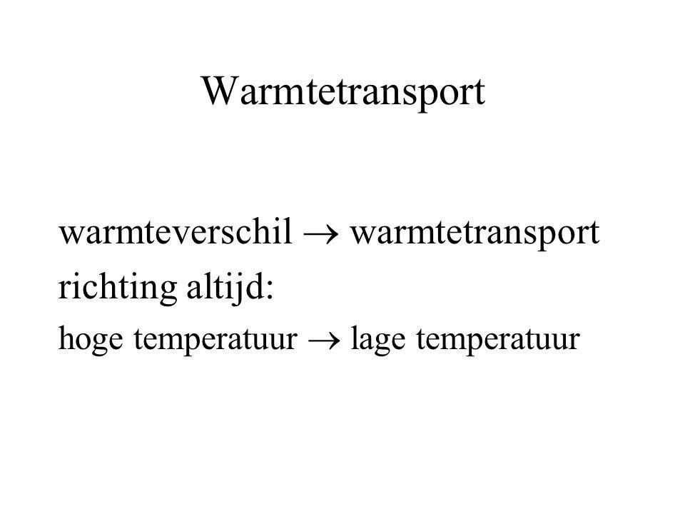 Warmtetransport warmteverschil  warmtetransport richting altijd: