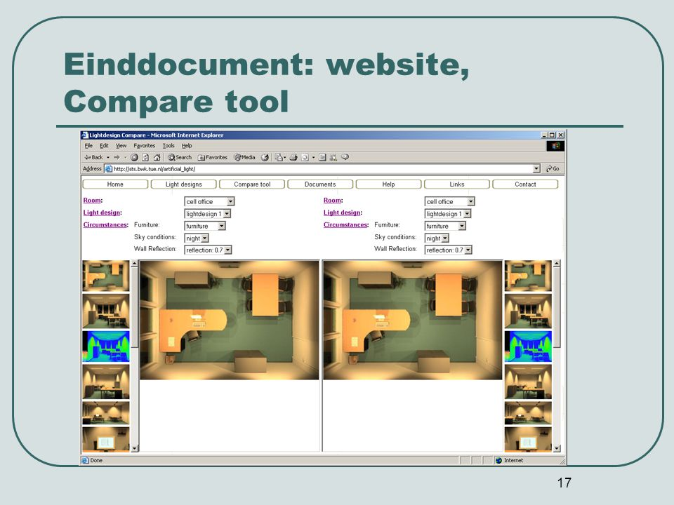 Einddocument: website, Compare tool
