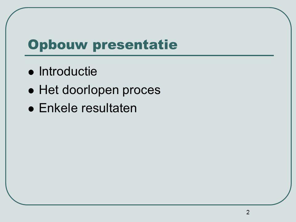 Opbouw presentatie Introductie Het doorlopen proces Enkele resultaten