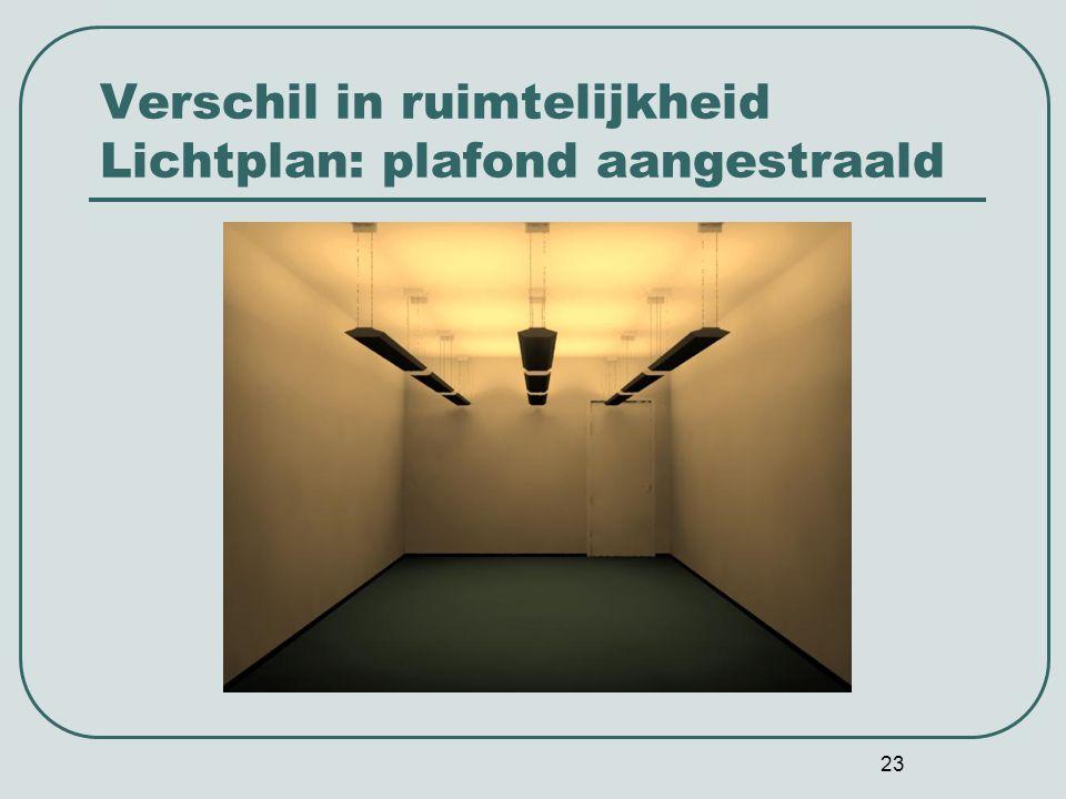Verschil in ruimtelijkheid Lichtplan: plafond aangestraald