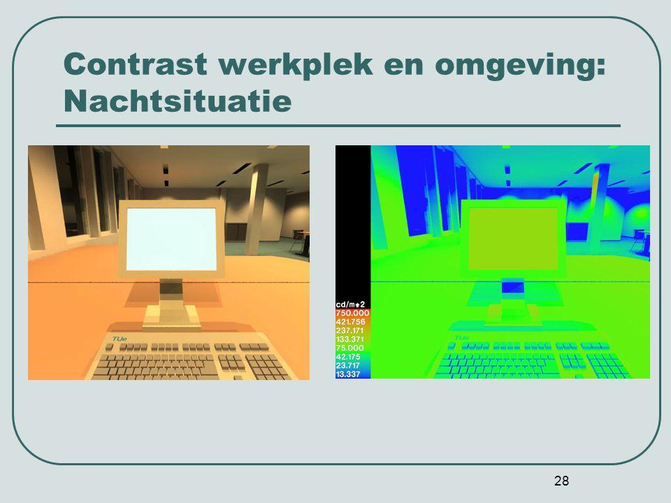 Contrast werkplek en omgeving: Nachtsituatie
