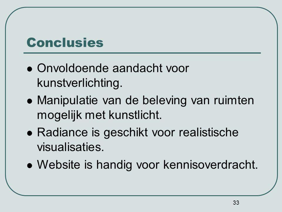 Conclusies Onvoldoende aandacht voor kunstverlichting.
