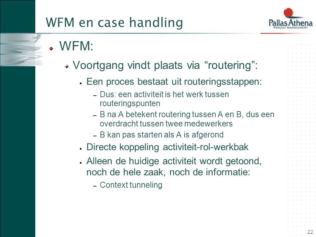 WFM en case handling WFM: Voortgang vindt plaats via routering :