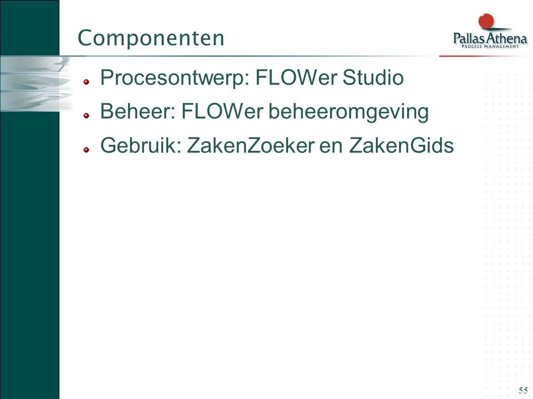 Componenten Procesontwerp: FLOWer Studio. Beheer: FLOWer beheeromgeving.