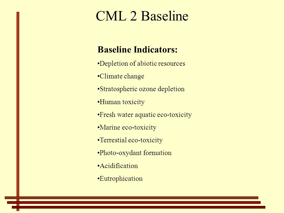CML 2 Baseline Baseline Indicators: Depletion of abiotic resources
