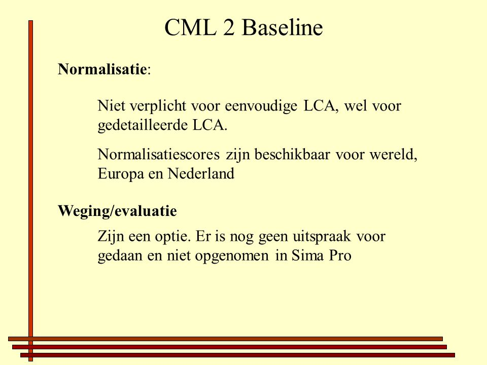 CML 2 Baseline Normalisatie: