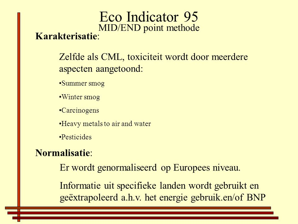 Eco Indicator 95 MID/END point methode Karakterisatie: