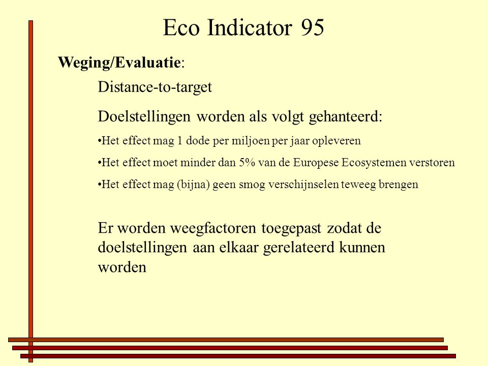 Eco Indicator 95 Weging/Evaluatie: Distance-to-target