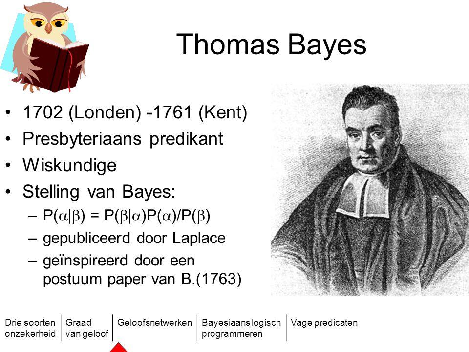 Thomas Bayes 1702 (Londen) -1761 (Kent) Presbyteriaans predikant