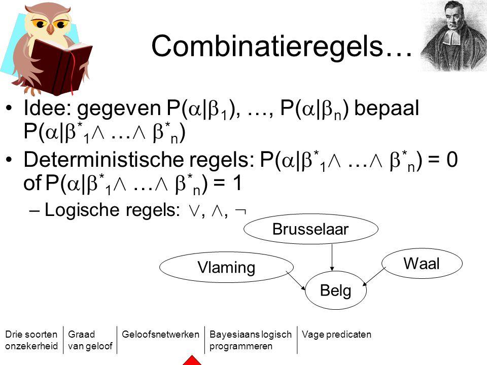 Combinatieregels… Idee: gegeven P(|1), …, P(|n) bepaal P(|*1Æ …Æ *n) Deterministische regels: P(|*1Æ …Æ *n) = 0 of P(|*1Æ …Æ *n) = 1.