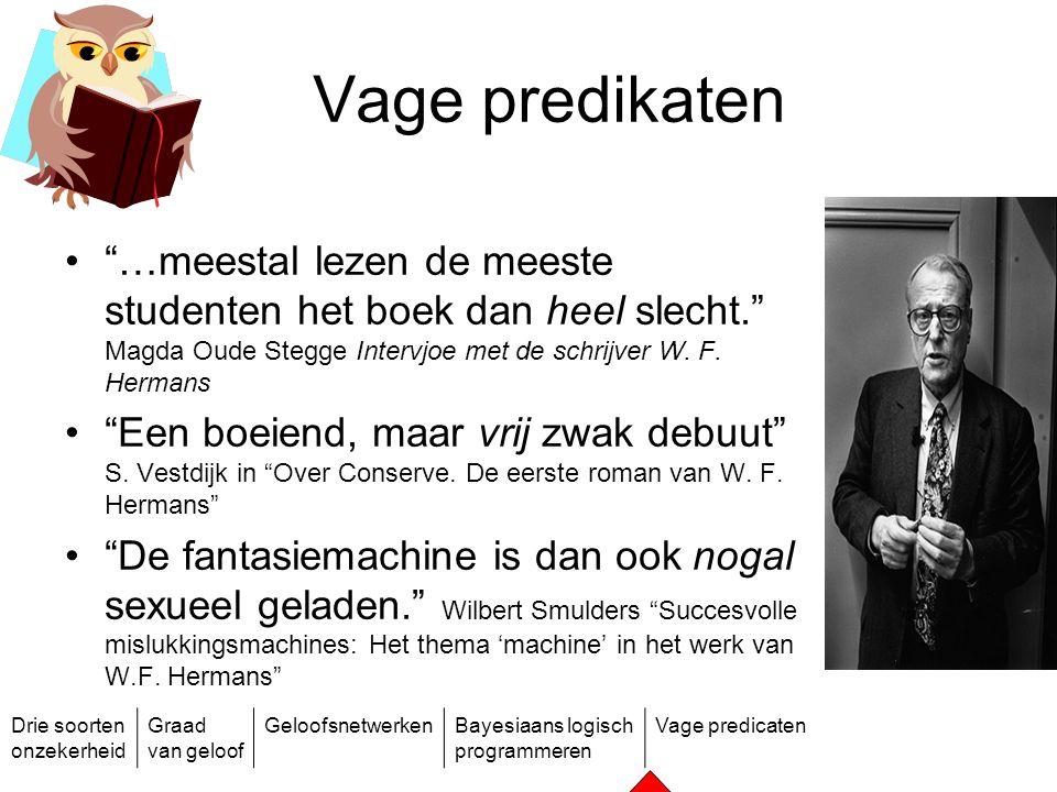 Vage predikaten …meestal lezen de meeste studenten het boek dan heel slecht. Magda Oude Stegge Intervjoe met de schrijver W. F. Hermans.