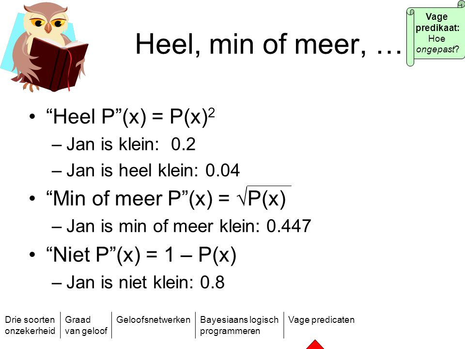 Heel, min of meer, … Heel P (x) = P(x)2 Min of meer P (x) = √P(x)
