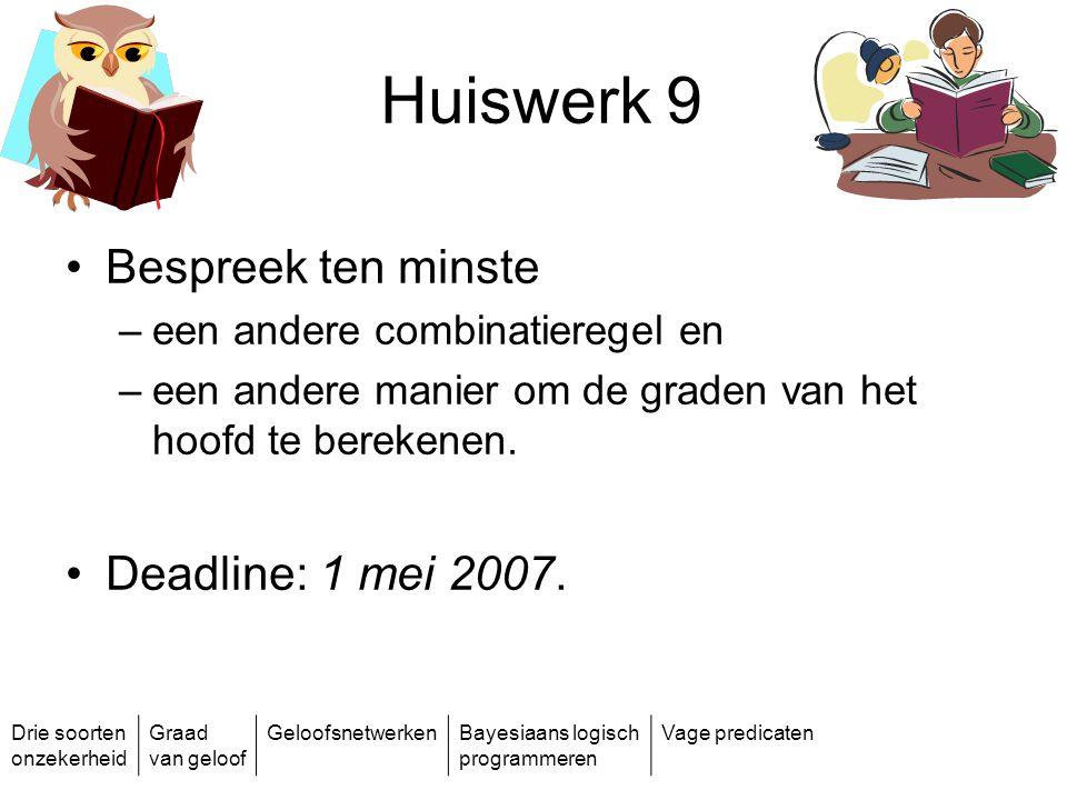 Huiswerk 9 Bespreek ten minste Deadline: 1 mei 2007.