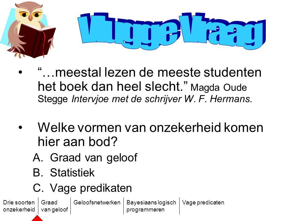 Vlugge Vraag …meestal lezen de meeste studenten het boek dan heel slecht. Magda Oude Stegge Intervjoe met de schrijver W. F. Hermans.