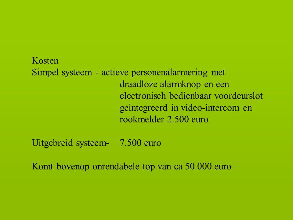 Kosten Simpel systeem - actieve personenalarmering met. draadloze alarmknop en een. electronisch bedienbaar voordeurslot.