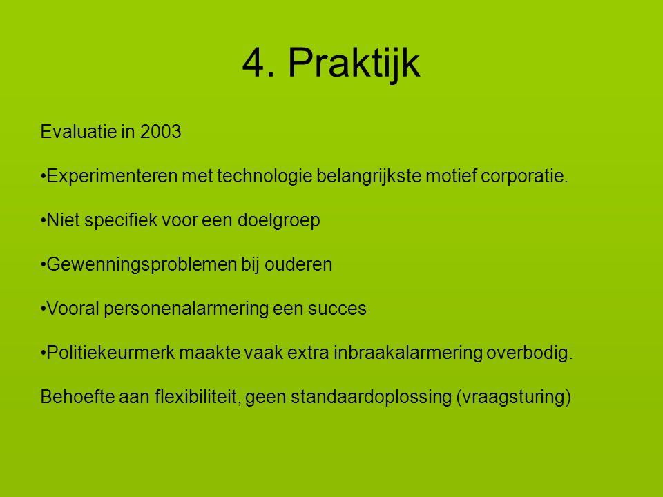 4. Praktijk Evaluatie in 2003. Experimenteren met technologie belangrijkste motief corporatie. Niet specifiek voor een doelgroep.