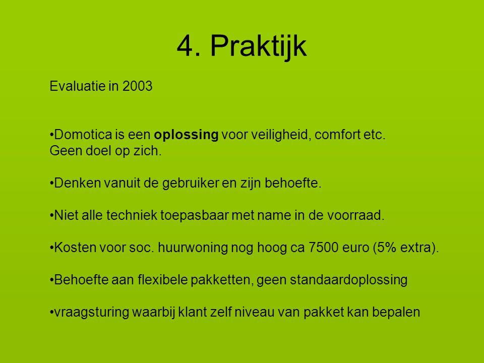 4. Praktijk Evaluatie in 2003. Domotica is een oplossing voor veiligheid, comfort etc. Geen doel op zich.