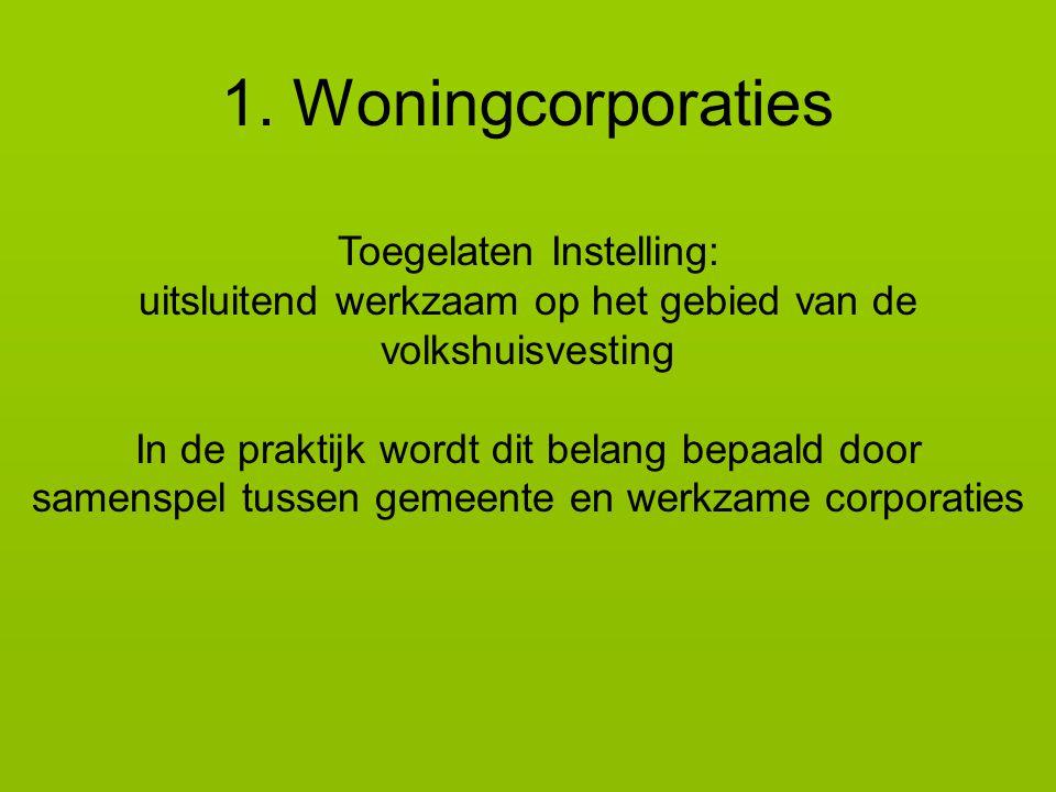 1. Woningcorporaties Toegelaten Instelling: