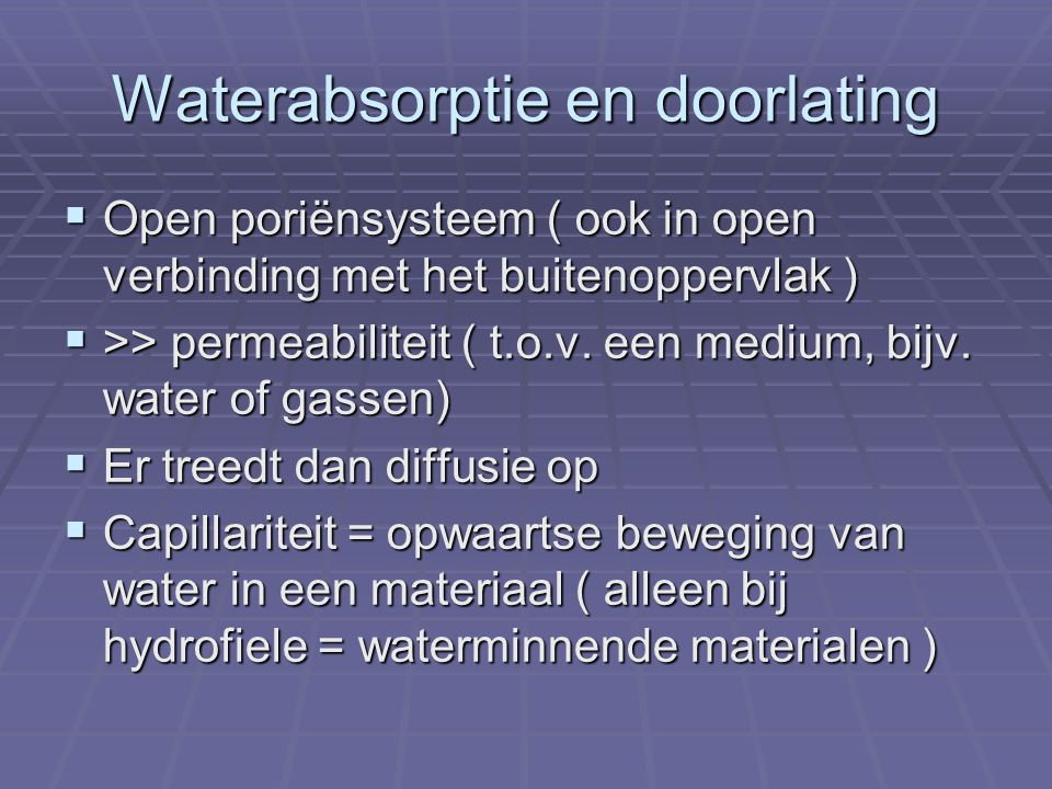 Waterabsorptie en doorlating