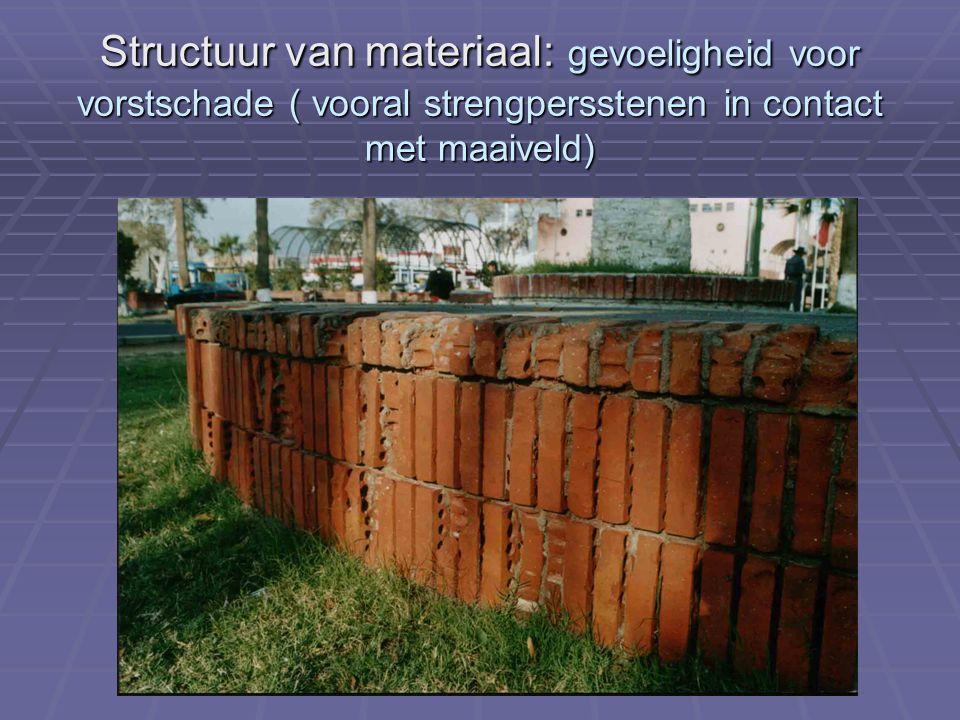 Structuur van materiaal: gevoeligheid voor vorstschade ( vooral strengpersstenen in contact met maaiveld)