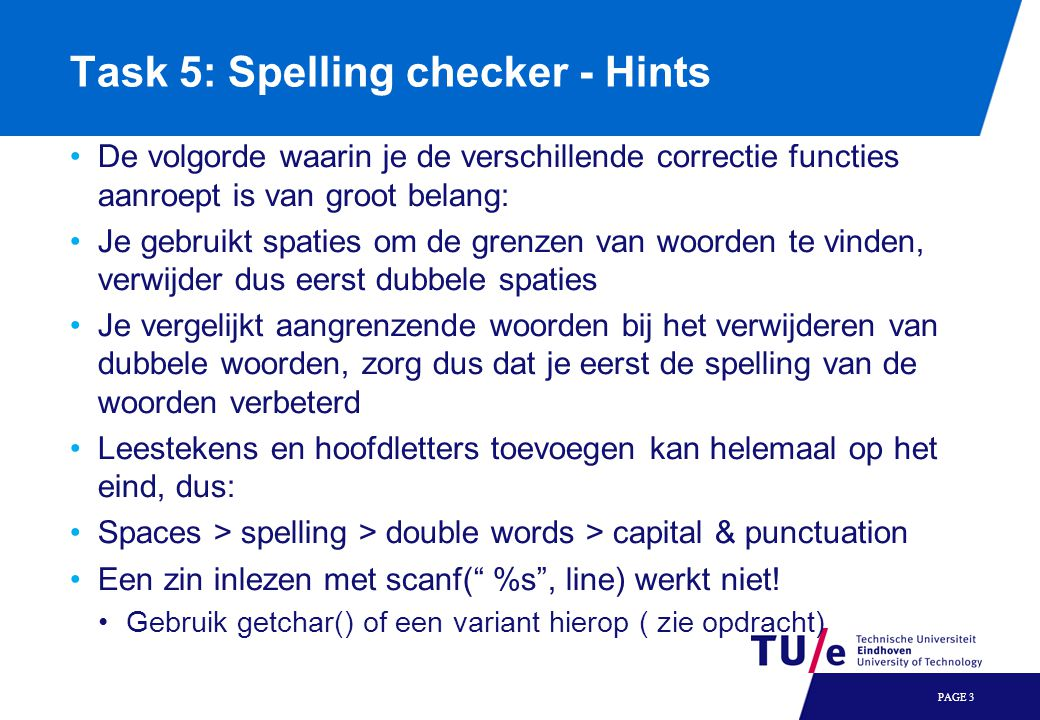 Task 5: Spelling checker - Hints