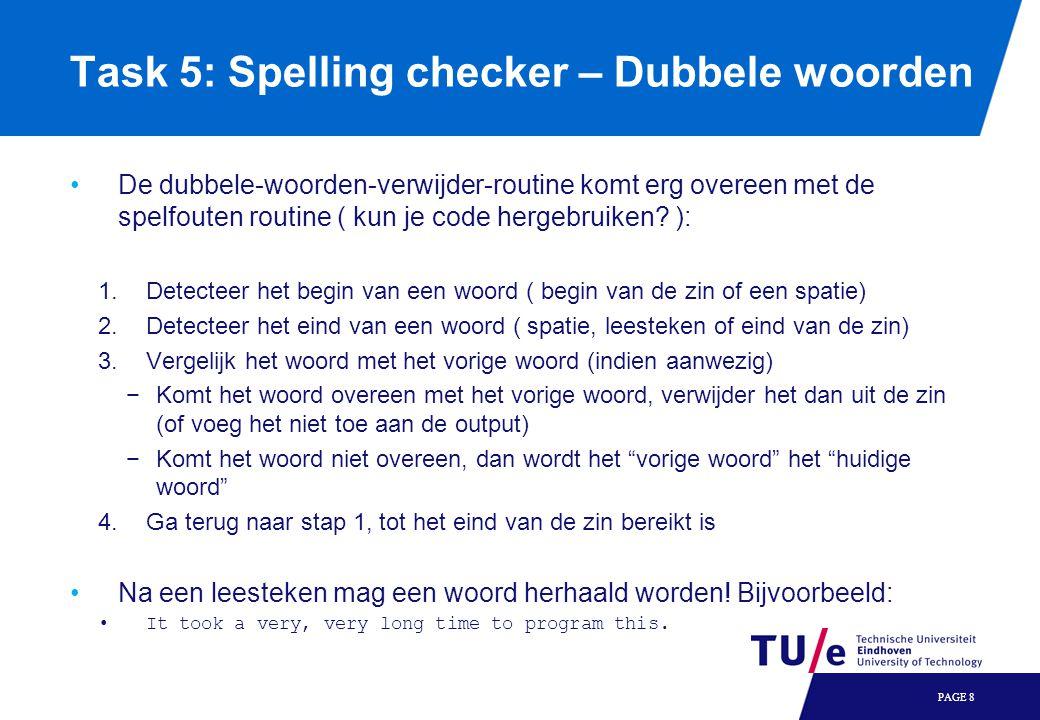 Task 5: Spelling checker – Dubbele woorden