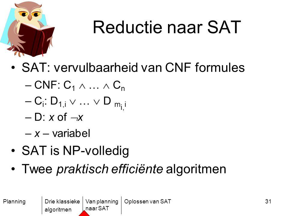 Reductie naar SAT SAT: vervulbaarheid van CNF formules
