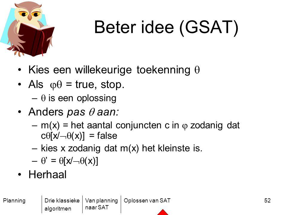 Beter idee (GSAT) Kies een willekeurige toekenning 