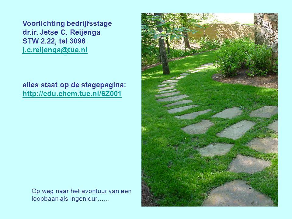Voorlichting bedrijfsstage dr.ir. Jetse C. Reijenga STW 2.22, tel 3096