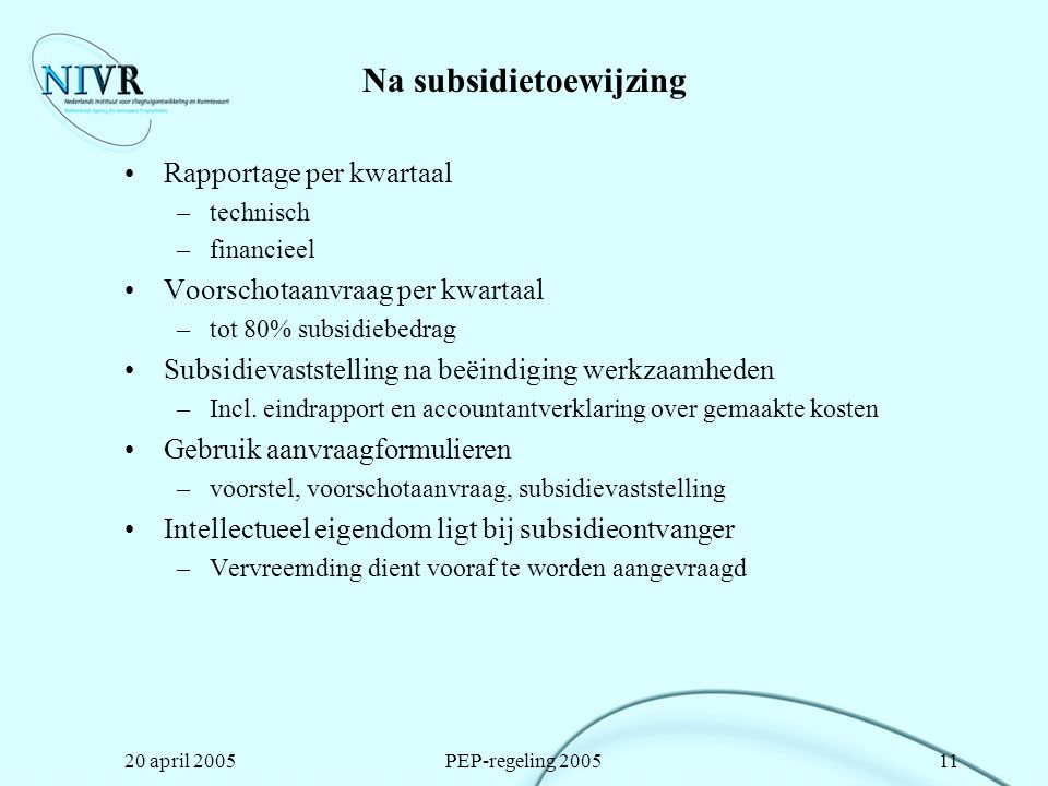 Na subsidietoewijzing