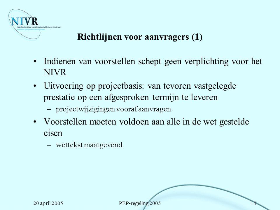Richtlijnen voor aanvragers (1)