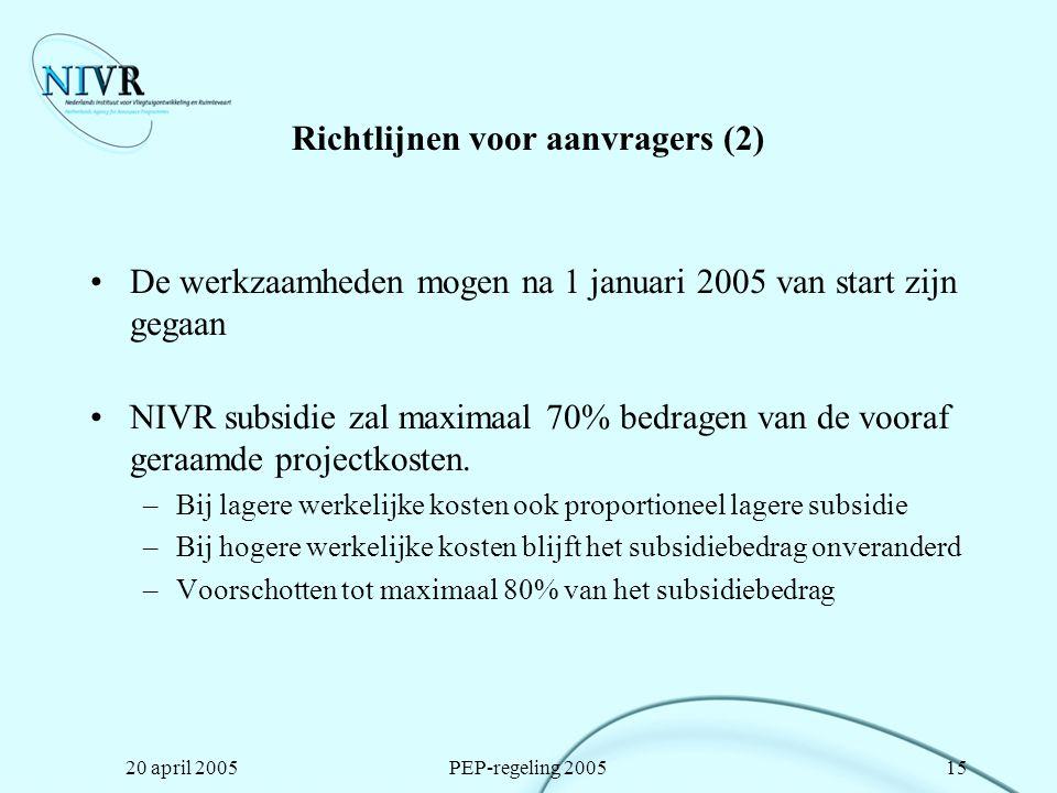 Richtlijnen voor aanvragers (2)