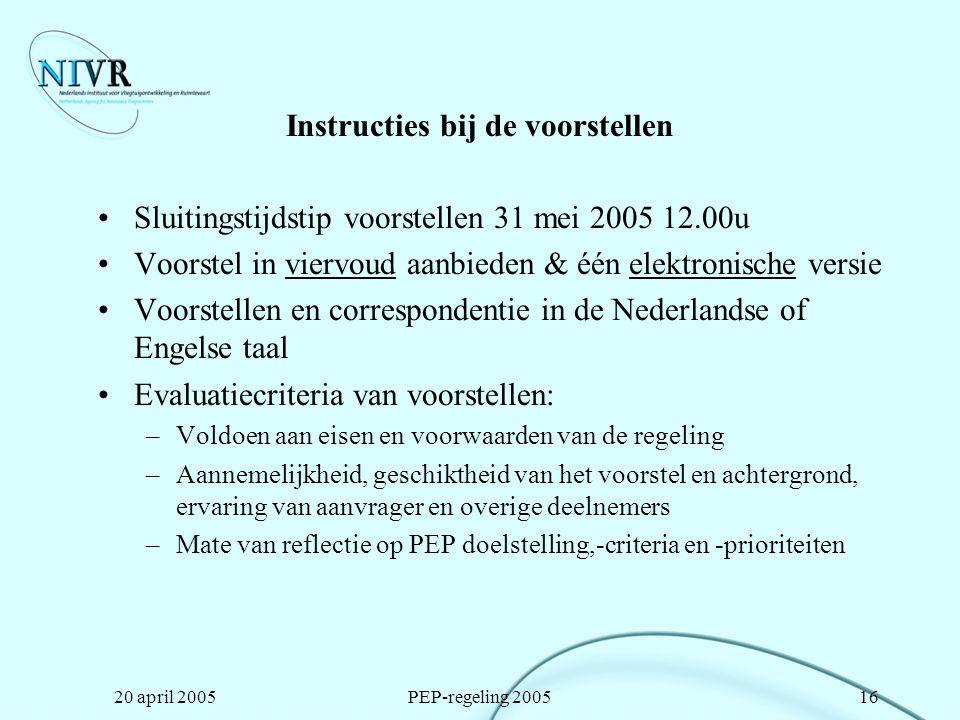 Instructies bij de voorstellen