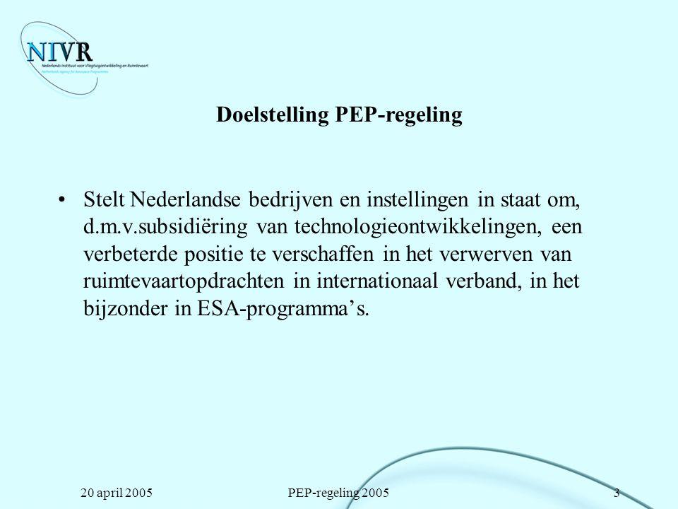 Doelstelling PEP-regeling