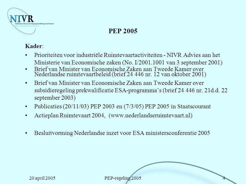 PEP 2005 Kader: