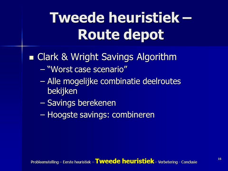 Tweede heuristiek – Route depot