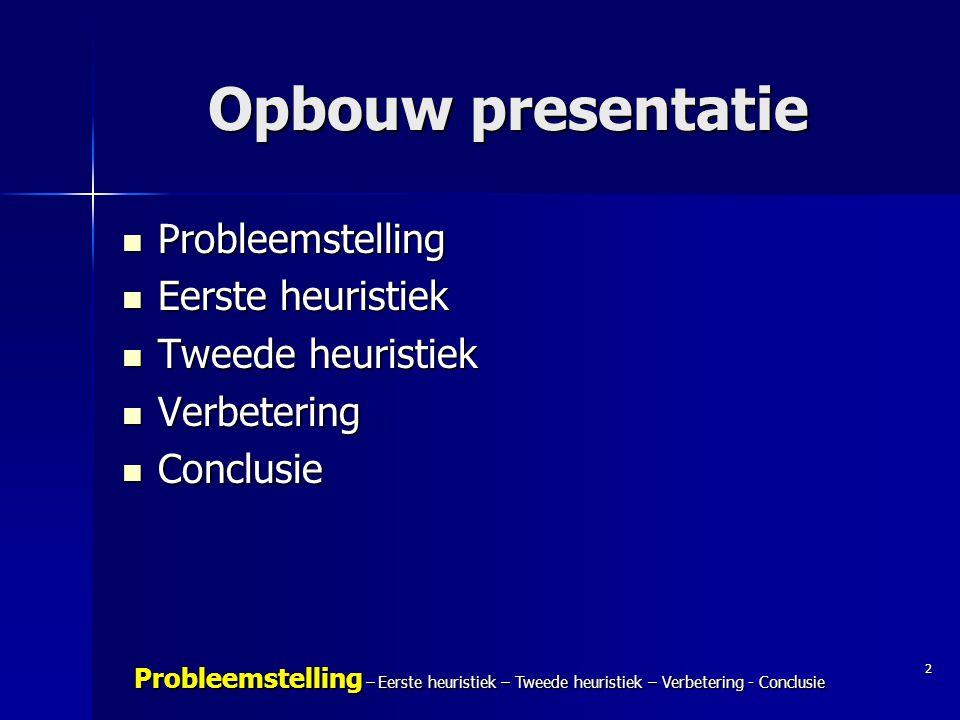 Opbouw presentatie Probleemstelling Eerste heuristiek