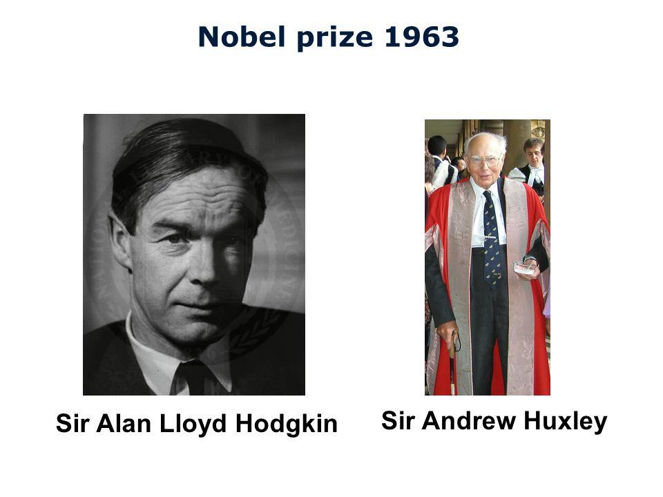 Nobel prize 1963 Sir Alan Lloyd Hodgkin Sir Andrew Huxley