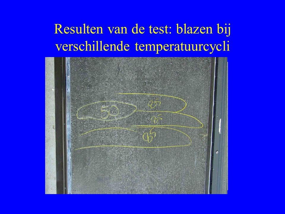 Resulten van de test: blazen bij verschillende temperatuurcycli