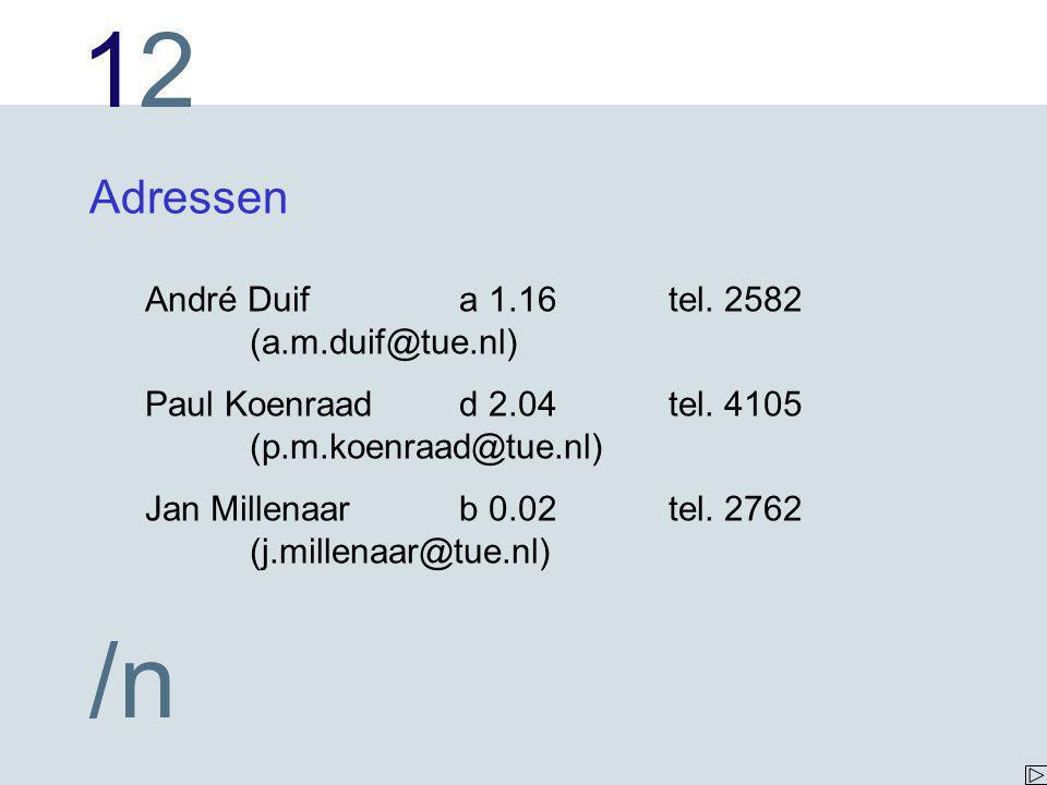 Adressen André Duif a 1.16 tel. 2582 (a.m.duif@tue.nl)