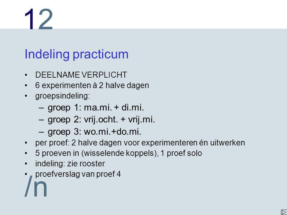 Indeling practicum groep 1: ma.mi. + di.mi.