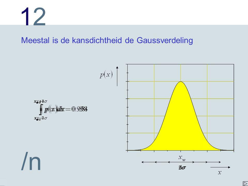 Meestal is de kansdichtheid de Gaussverdeling